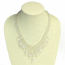 NE168-206 Beaded Faceted Chandelier Crystal Glass Necklace Collar Flawless Fit