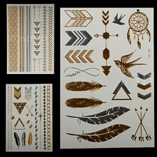 3 Sheets Temporary Disposable Metallic Tattoo Gold Silver Black Flash Tattoos