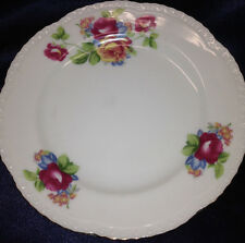 """VICEROY CHINA JAPAN 7.5"""" SALAD PLATE RED & YELLOW ROSES BLUE FLOWERS GOLD TRIM"""