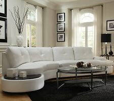 MODERN WHITE LEATHER SOFA SECTIONAL W/ BUILT IN TABLE LIVINGROOM FURNITURE SET