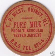 MILK BOTTLE CAP. E. P. WEST. QUINCY, IL. DAIRY
