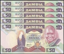 TWN - ZAMBIA 28a - 50 Kw. 1986-88 UNC Pr. 57/F Dealers x 5 - FREE SHIPPING €150+