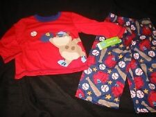 NWT Boys CARTERs 18 mo Baseball PJs Pajamas Red Dog Navy Blue Puppy Carter's