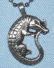 CROCODILE PEWTER PENDANT MENS BOYS WOMENS GIRLS NECKLACE CHAIN  PC048