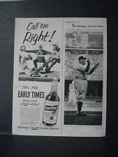 1952 Baseball Umpire Out or Safe? Early Times Whiskey Vintage Print Ad 11186