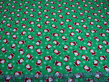 3 Yards Cotton Flannel Fabric - Timeless Treasures Christmas Santa Toss Green