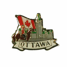 PARLIAMENT , MOUNTIE & COUNTRY FLAG WITH CAPTION OTTAWA  METAL LAPEL PIN BADGE