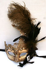 Feather Venetian Masquerade Costume Ball Prom Party Wedding Ivory Lace eye Mask