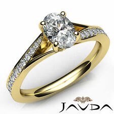 Oval Diamond Excellent Engagement Pave Set Ring GIA E VS2 18k Yellow Gold 0.85Ct