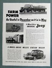 Original 1953 Jeep  Ad FARM POWER AS USEFUL IN DECEMBER AS IT IS IN MAY