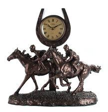 New Juliana Bronze Race Horse Galloping Past the Finish Mantle Clock Figure