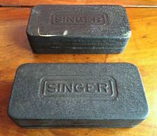 TWO VINTAGE SINGER SEWING MACHINE METAL BOXES WITH ACCESSORIES