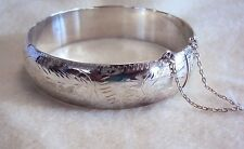 925 Sterling Silver Vintage Etched Engraving 16mm 20g Hinged Round Bangle Adult