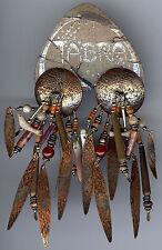TABRA FABULOUS TRIBAL BIRDS & SHELL COPPER PIERCED POST DANGLE EARRINGS ON CARD
