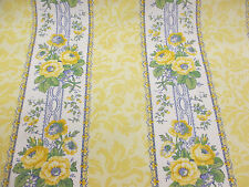 Yellow Fancy Floral Baroque Striped Printed 100% Cotton Curtain Fabric