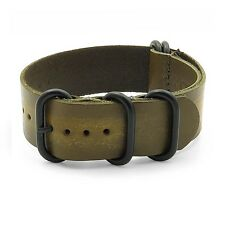 StrapsCo Green Distressed Vintage Leather Watch Band Strap Black Rings