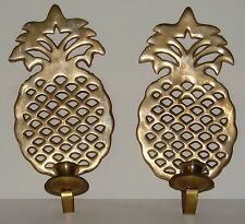 Vintage Pair of Solid Brass Pineapple Wall Sconce Candle Holders