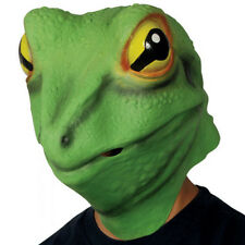 ADULT FROG PRINCE MASK LIZARD GECKO KERMIT ANIMAL COSTUME GREEN LATEX MASK