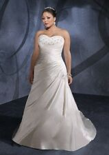 Wedding Dresses Plus Size Strapless Court Train Lace up Satin Bridal Gown