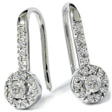 1/4ct Diamond Pave Set Round Drop Style Halo Earrings 14K White Gold Vintage New