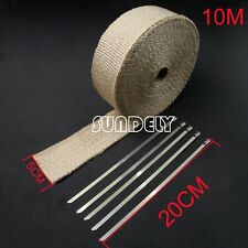 WRAP 50MM X 10M X 2MM + 5 STAINLESS STEEL TIES 2100F CREAMY WHITE EXHAUST HEAT