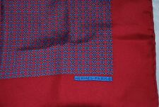 "100% Auth Hermes silk pocket square, 16"" red-blue"