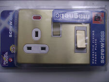 SCREWLESS BRUSHED BRASS  45 AMP DP COOKER SWITCH AND 13 AMP SWITCH /NEONS