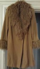 Marvin Richards Camel Wool Coat with Mongolian Lamb Fur Collar & Cuffs - Size 8