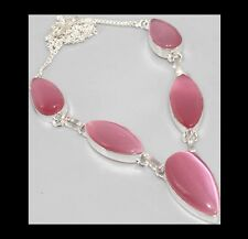 NEW - PINK MONALISA 5 STONE TEARDROP SHAPED SILVER PLATED NECKLACE