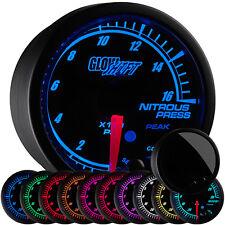 52mm GlowShift Black Elite 10 Color 1600 PSI Nitrous Pressure Gauge - GS-ET14
