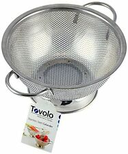NEW Steel Perforated Colander Large Strainer Sifter Bowl Handles Drainer Kitchen