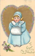 C4/ Valentine's Day Love Holiday Postcard 1910 Buffalo NY Girl Coat Muff 12