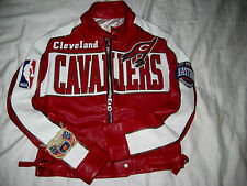 CLEVELAND CAVALIERS LAMBSKIN LEATHER JH SIGNED MOTO CAFE RACER JERSEY JACKET- M
