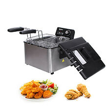 4L Stainless-Steel Deep Fryer Electric Countertop Restaurant 1700W w/Basket