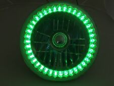 """7"""" Inch Round Motorcycle Crystal Clear Green LED Halo Headlight Bulb Fits Harley"""