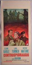 Locandina CONTROSPIONAGGIO 1964 RARISSIMA! CLARK GABLE LANA TURNER VICTOR MATURE
