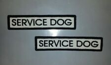 Two Thin White/Black Embroidered Sew-On Bar Patches - SERVICE DOG