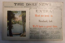 Postcard - Daily News Extra - Newspaper Look - Meet Me in Newland IN - Sent 1917