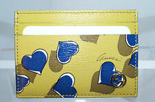 Gucci Women's Wallet Hearts Leather Blue Credit Card Case Yellow Multi NWT