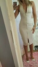 Bnwt sexy nude size 10 zip pencil midi dress party club celeb
