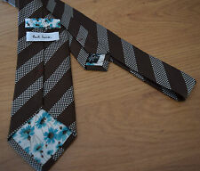 Paul Smith VERY RARE GOLD & BROWN Spot & Stripe Tie 100% Silk 8cm Blade