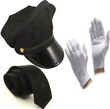UNISEX BLACK CHAUFFEUR HAT TIE GLOVES LIMO DRIVER FANCY DRESS COSTUME ACCESSORY