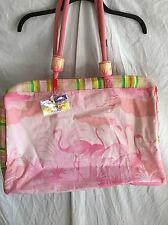 Sun 'n' Sand NEW BEACH BAG TOTE FLAMINGOS Oilcloth Lined HUGE Cruise