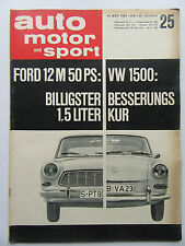 Auto Motor Sport 25/1963, Ford 12 M 50PS, VW 1500