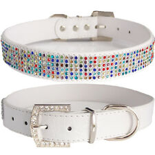 X-Large Princess Fashion White PU Leather Rainbow Crystals Bling Dog Collar