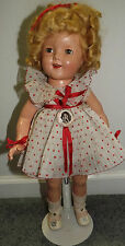 "1930s 22"" Composition Shirley Temple In Red And White Polka Dot Dress & Orig Box"