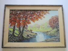 BILLY SEAY PAINTING LARGE AMERICAN LANDSCAPE BRIGHT COLORS 1950'S VINTAGE