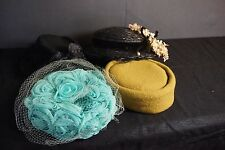 Lot Of (4) Vintage Estate Ladies Dress Hats Costume Cosplay Glamour