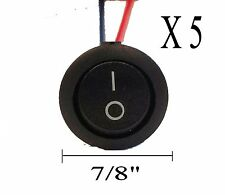"IMC AUDIO RRS-2W— Five 5 Pieces 12V w/ 8"" Lead Wire ON OFF Round Rocker Switch"
