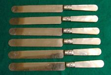 DAME STODDARD & CO.  SIX DINNER KNIVES  SILVER AND MOTHER OF PEARL